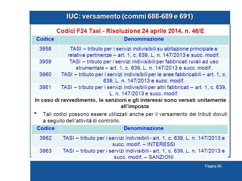 Pagina 85 IUC: versamento (commi 688-689 e 691) Codici F24 Tasi - Risoluzione 24 aprile 2014, n. 46/E In caso di ravvedimento, le sanzioni e gli inter