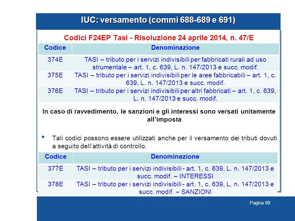 Pagina 89 IUC: versamento (commi 688-689 e 691) Codici F24EP Tasi - Risoluzione 24 aprile 2014, n. 47/E In caso di ravvedimento, le sanzioni e gli int
