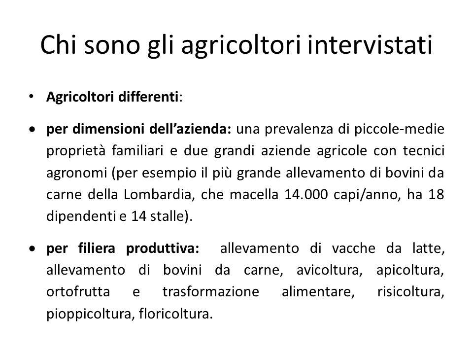 Chi sono gli agricoltori intervistati Agricoltori differenti:  per dimensioni dell'azienda: una prevalenza di piccole-medie proprietà familiari e due grandi aziende agricole con tecnici agronomi (per esempio il più grande allevamento di bovini da carne della Lombardia, che macella 14.000 capi/anno, ha 18 dipendenti e 14 stalle).