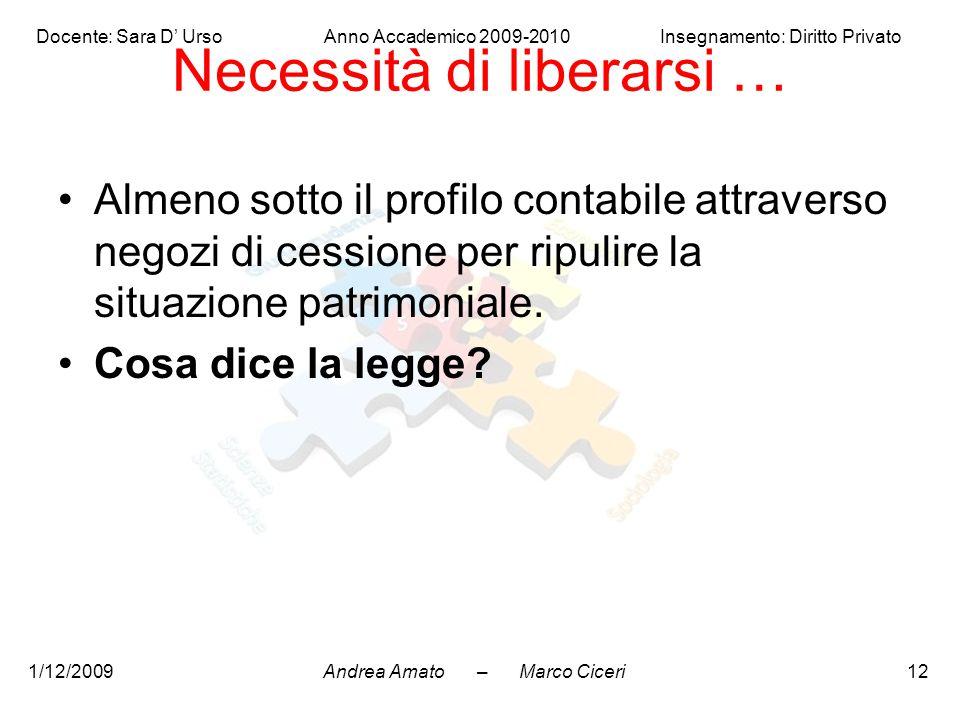 Andrea Amato – Marco Ciceri Docente: Sara D' Urso Anno Accademico 2009-2010 Insegnamento: Diritto Privato 1/12/200912 Necessità di liberarsi … Almeno