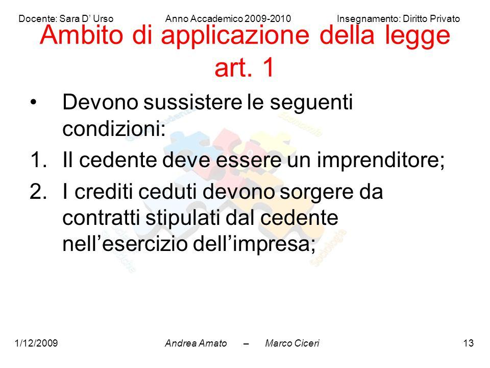 Andrea Amato – Marco Ciceri Docente: Sara D' Urso Anno Accademico 2009-2010 Insegnamento: Diritto Privato 1/12/200913 Ambito di applicazione della leg