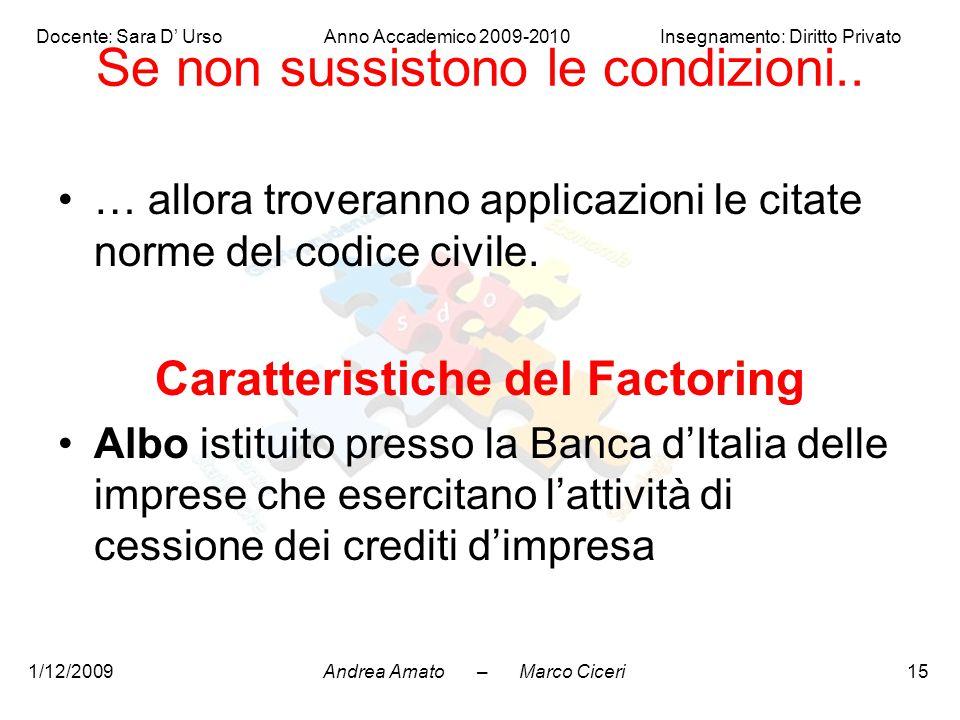 Andrea Amato – Marco Ciceri Docente: Sara D' Urso Anno Accademico 2009-2010 Insegnamento: Diritto Privato 1/12/200915 Se non sussistono le condizioni.