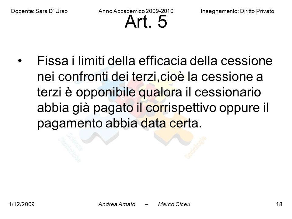 Andrea Amato – Marco Ciceri Docente: Sara D' Urso Anno Accademico 2009-2010 Insegnamento: Diritto Privato 1/12/200918 Art. 5 Fissa i limiti della effi