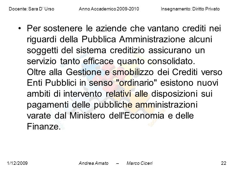Andrea Amato – Marco Ciceri Docente: Sara D' Urso Anno Accademico 2009-2010 Insegnamento: Diritto Privato 1/12/200922 Per sostenere le aziende che van