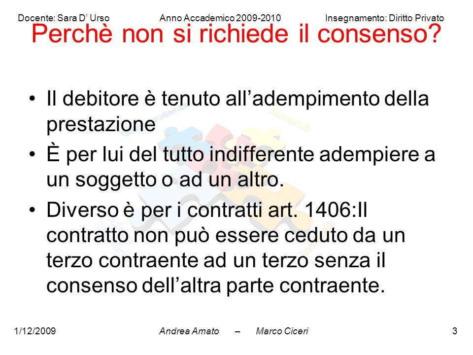 Andrea Amato – Marco Ciceri Docente: Sara D' Urso Anno Accademico 2009-2010 Insegnamento: Diritto Privato 1/12/20093 Perchè non si richiede il consens