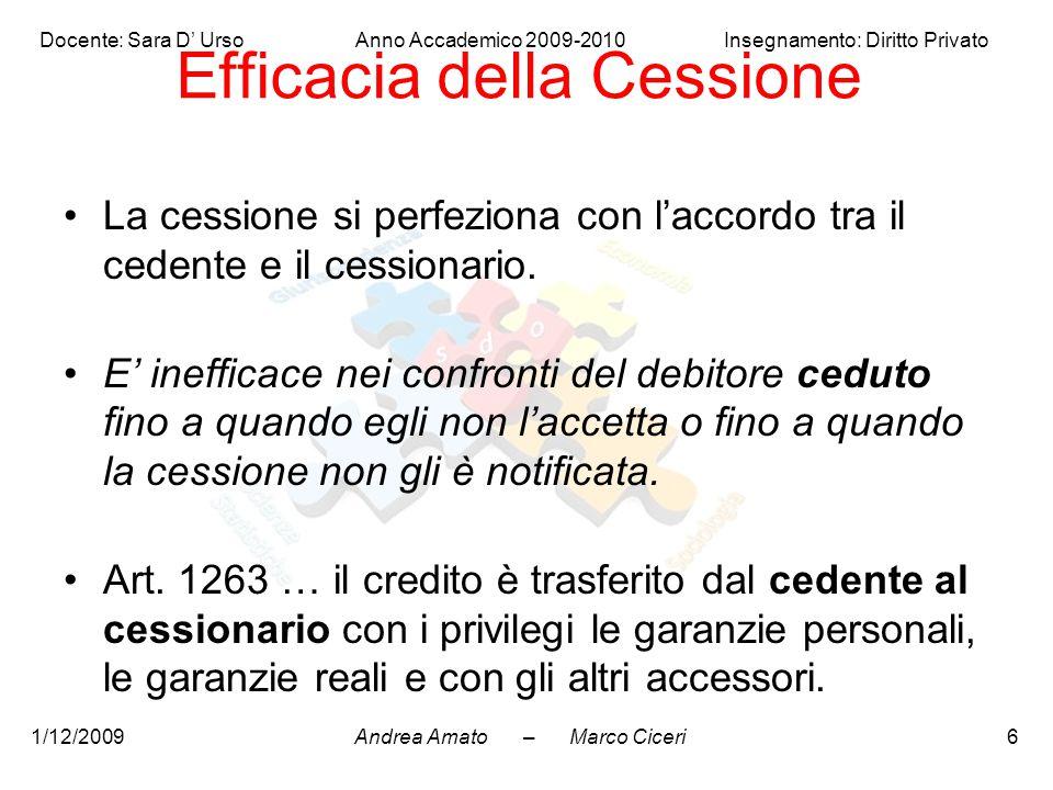 Andrea Amato – Marco Ciceri Docente: Sara D' Urso Anno Accademico 2009-2010 Insegnamento: Diritto Privato 1/12/20096 Efficacia della Cessione La cessi
