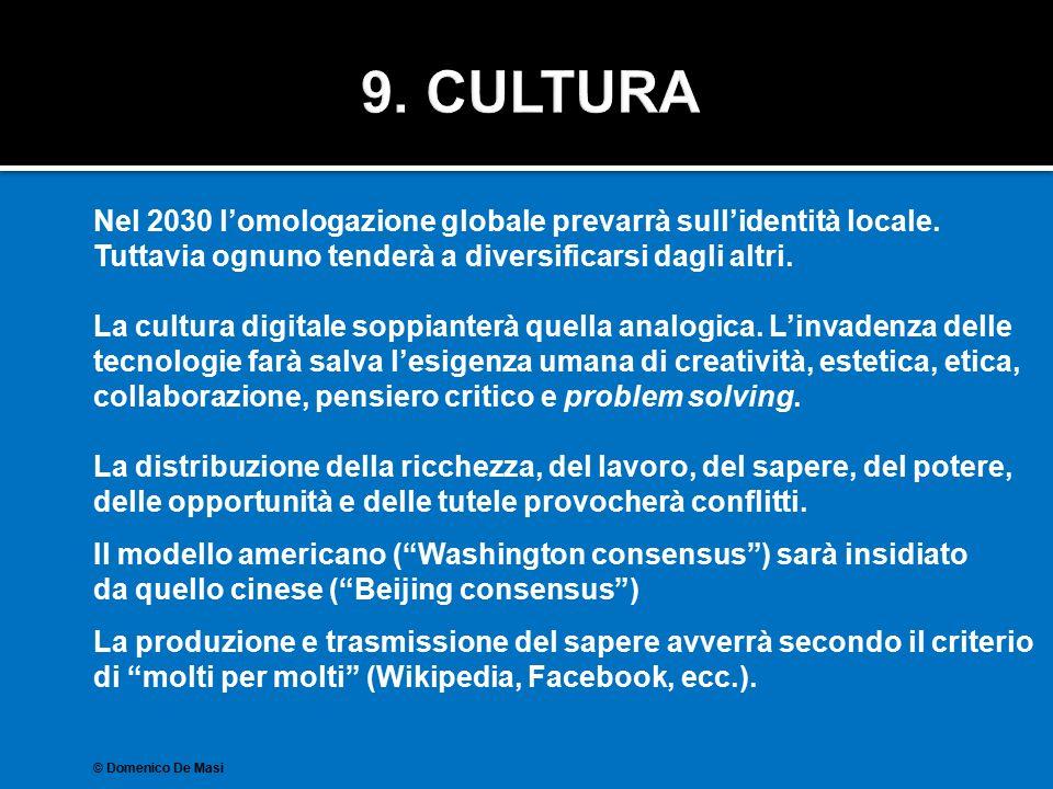 Nel 2030 l'omologazione globale prevarrà sull'identità locale. Tuttavia ognuno tenderà a diversificarsi dagli altri. La cultura digitale soppianterà q