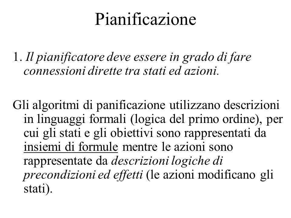 Pianificazione 1. Il pianificatore deve essere in grado di fare connessioni dirette tra stati ed azioni. Gli algoritmi di panificazione utilizzano des