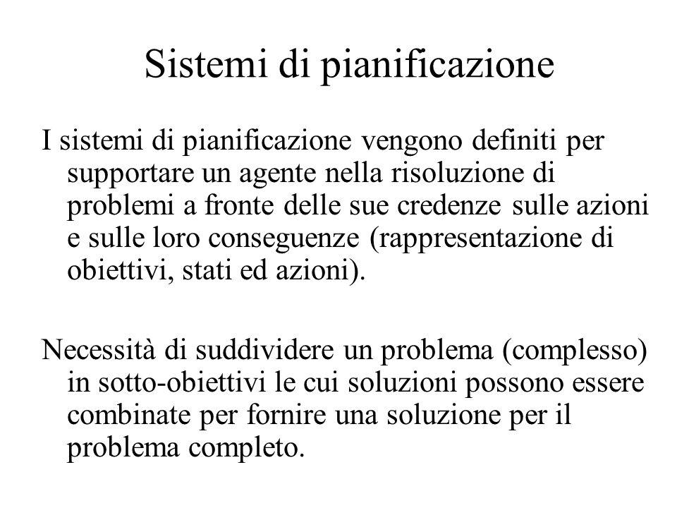 Sistemi di pianificazione I sistemi di pianificazione vengono definiti per supportare un agente nella risoluzione di problemi a fronte delle sue crede