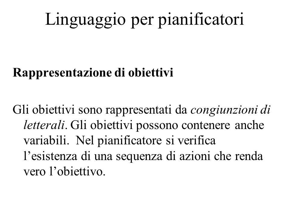 Linguaggio per pianificatori Rappresentazione di obiettivi Gli obiettivi sono rappresentati da congiunzioni di letterali. Gli obiettivi possono conten