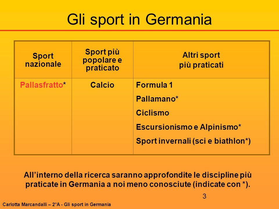 3 Gli sport in Germania Sport nazionale Sport più popolare e praticato Altri sport più praticati Pallasfratto*CalcioFormula 1 Pallamano* Ciclismo Escu