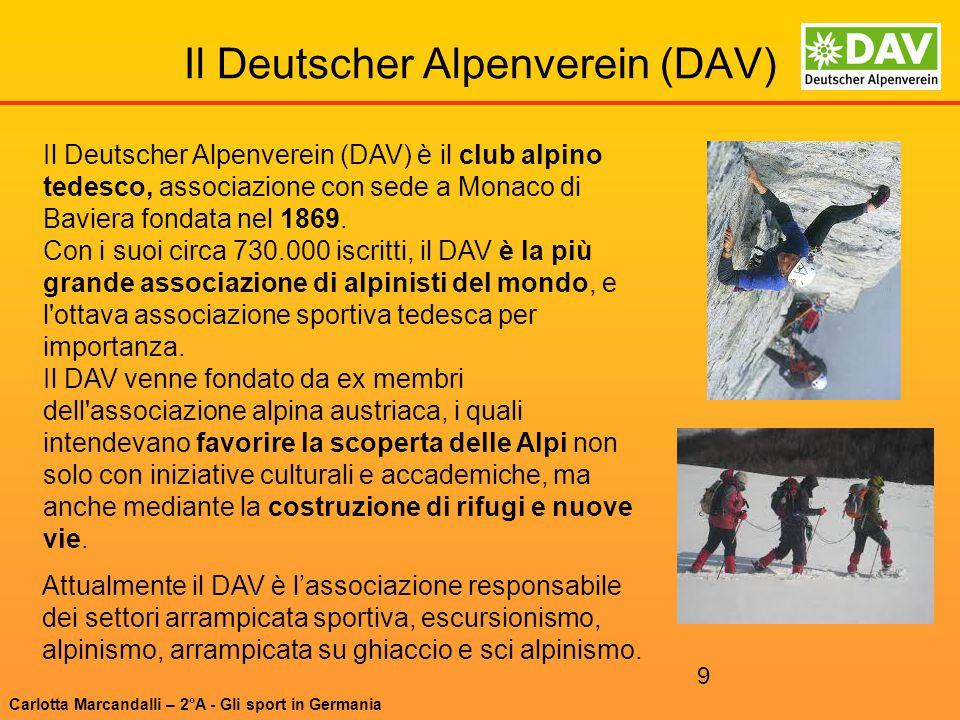 9 Il Deutscher Alpenverein (DAV) Il Deutscher Alpenverein (DAV) è il club alpino tedesco, associazione con sede a Monaco di Baviera fondata nel 1869.