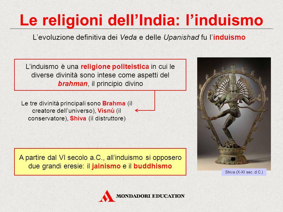 Le religioni dell'India: il jainismo Il fondatore del jainismo fu un nobile che si dedicò a una vita ascetica: Vardhamana, detto Jina («vittorioso») Rispettavano ogni creatura vivente al punto da non coltivare la terra per non uccidere i vermi Solo l'ascetismo, i digiuni e le mortificazioni potevano consentire la liberazione dell'anima Vardhamana (XIX sec.) Presto si stabilirono in monasteri, che divennero importanti centri di cultura e attività economiche La setta dei jainisti, fondata nel IV secolo a.C., rifiutava i libri sacri dei Veda e l'autorità dei sacerdoti