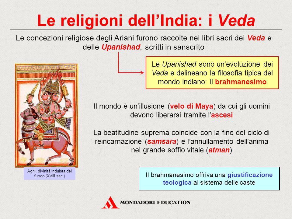 Le religioni dell'India: l'induismo L'evoluzione definitiva dei Veda e delle Upanishad fu l'induismo Le tre divinità principali sono Brahma (il creatore dell'universo), Visnù (il conservatore), Shiva (il distruttore) L'induismo è una religione politeistica in cui le diverse divinità sono intese come aspetti del brahman, il principio divino A partire dal VI secolo a.C., all'induismo si opposero due grandi eresie: il jainismo e il buddhismo Shiva (X-XI sec.