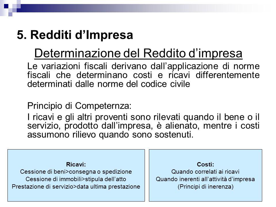 Determinazione del Reddito d'impresa Le variazioni fiscali derivano dall'applicazione di norme fiscali che determinano costi e ricavi differentemente