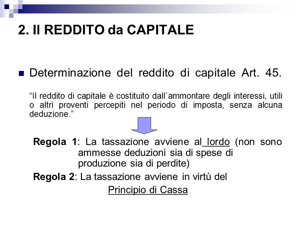 """2. Il REDDITO da CAPITALE Determinazione del reddito di capitale Art. 45. """"Il reddito di capitale è costituito dall`ammontare degli interessi, utili o"""