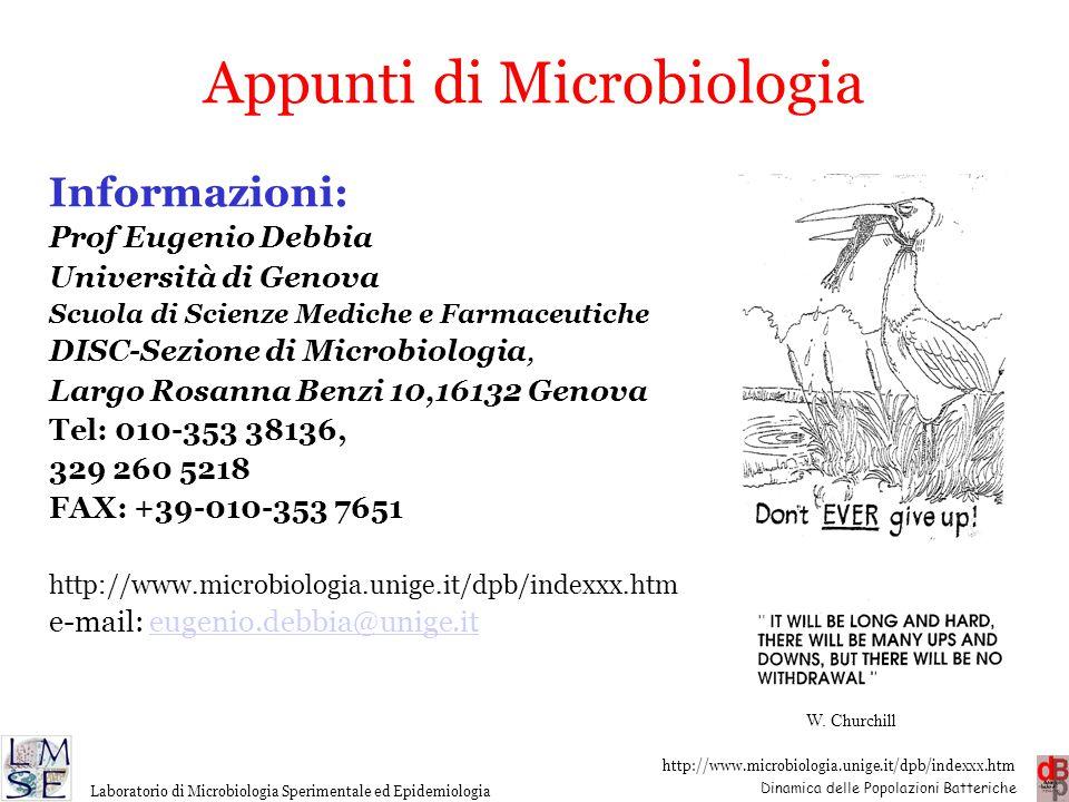http://www.microbiologia.unige.it/dpb/indexxx.htm Dinamica delle Popolazioni Batteriche Laboratorio di Microbiologia Sperimentale ed Epidemiologia App