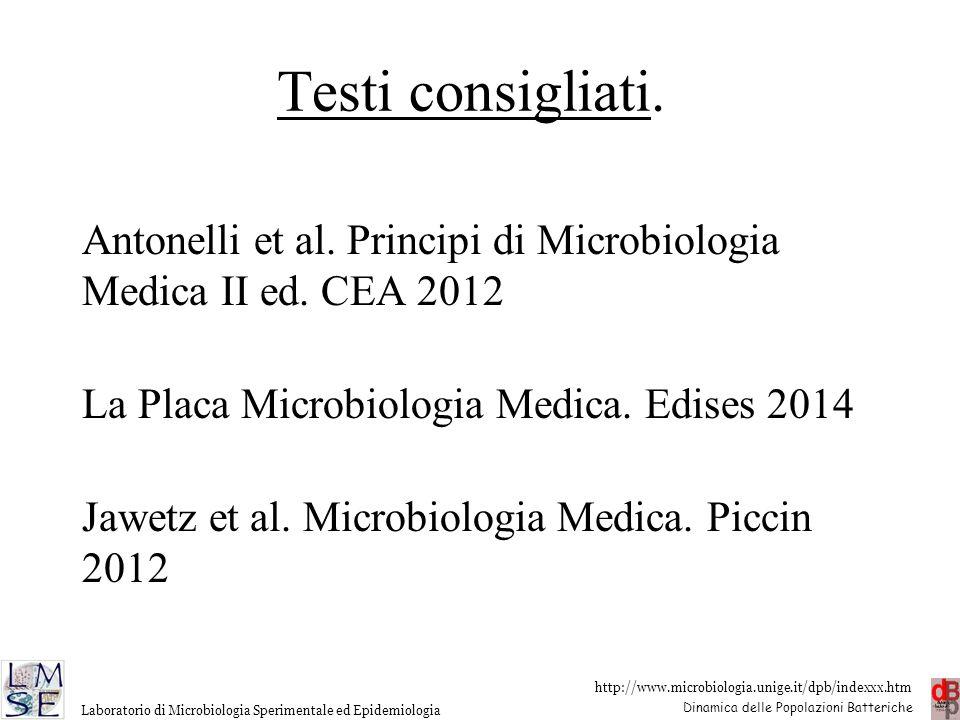 http://www.microbiologia.unige.it/dpb/indexxx.htm Dinamica delle Popolazioni Batteriche Laboratorio di Microbiologia Sperimentale ed Epidemiologia Tes