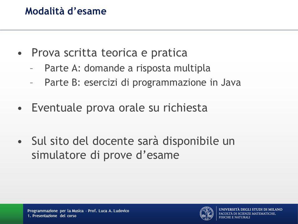 Modalità d'esame Programmazione per la Musica - Prof. Luca A. Ludovico 1. Presentazione del corso Prova scritta teorica e pratica –Parte A: domande a