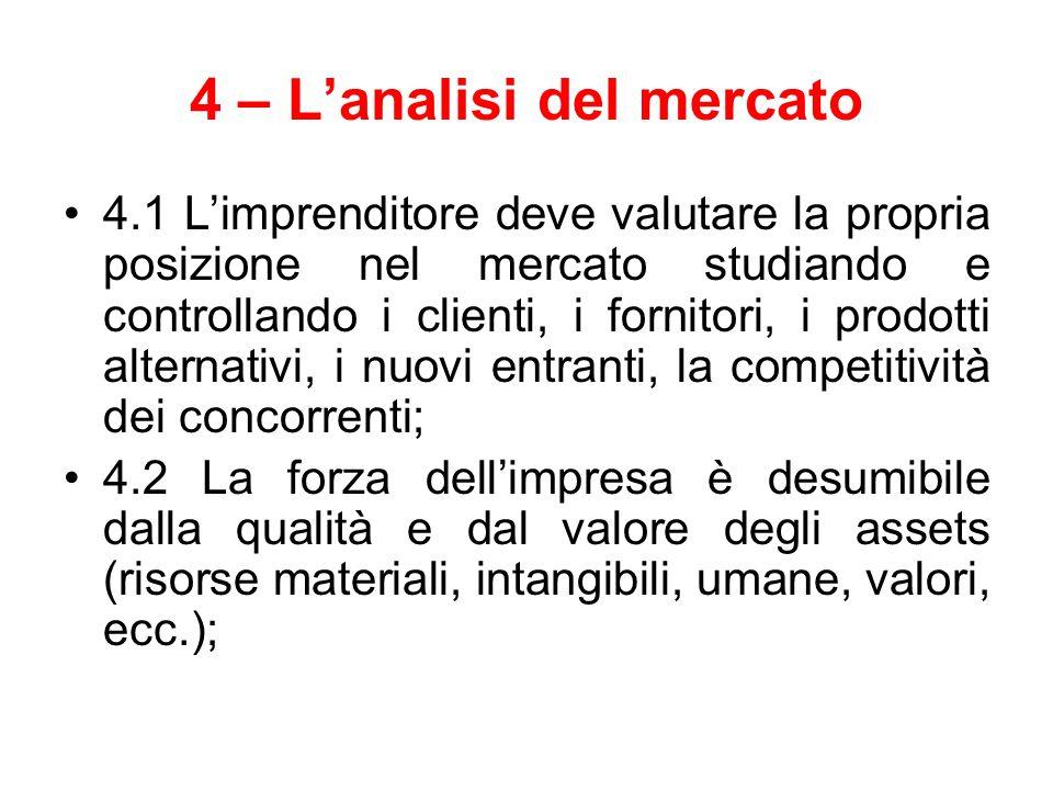4 – L'analisi del mercato 4.1 L'imprenditore deve valutare la propria posizione nel mercato studiando e controllando i clienti, i fornitori, i prodott