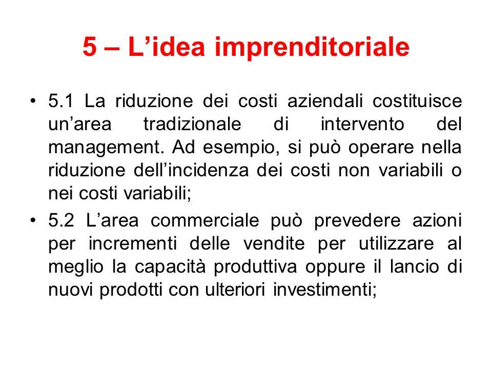 5 – L'idea imprenditoriale 5.1 La riduzione dei costi aziendali costituisce un'area tradizionale di intervento del management. Ad esempio, si può oper
