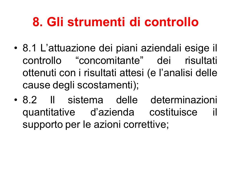 """8. Gli strumenti di controllo 8.1 L'attuazione dei piani aziendali esige il controllo """"concomitante"""" dei risultati ottenuti con i risultati attesi (e"""