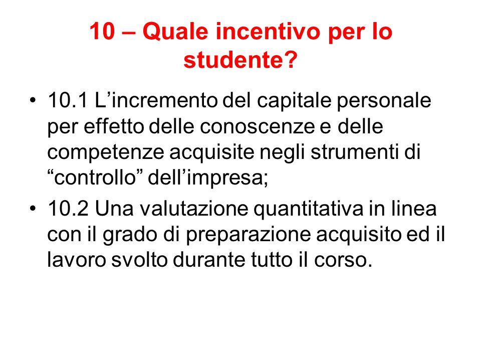 10 – Quale incentivo per lo studente? 10.1 L'incremento del capitale personale per effetto delle conoscenze e delle competenze acquisite negli strumen