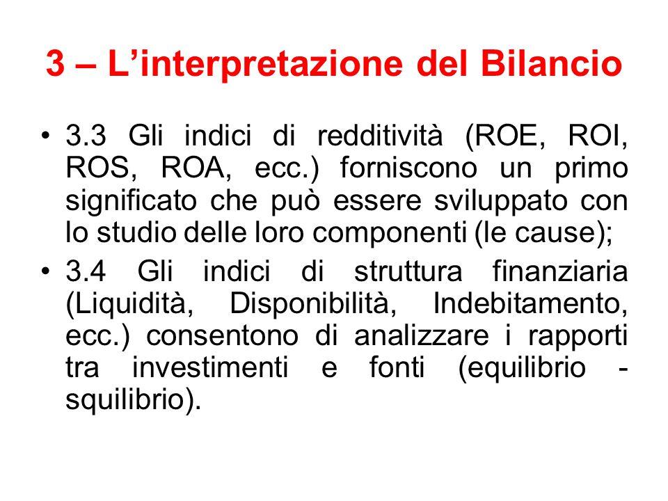 3 – L'interpretazione del Bilancio 3.3 Gli indici di redditività (ROE, ROI, ROS, ROA, ecc.) forniscono un primo significato che può essere sviluppato
