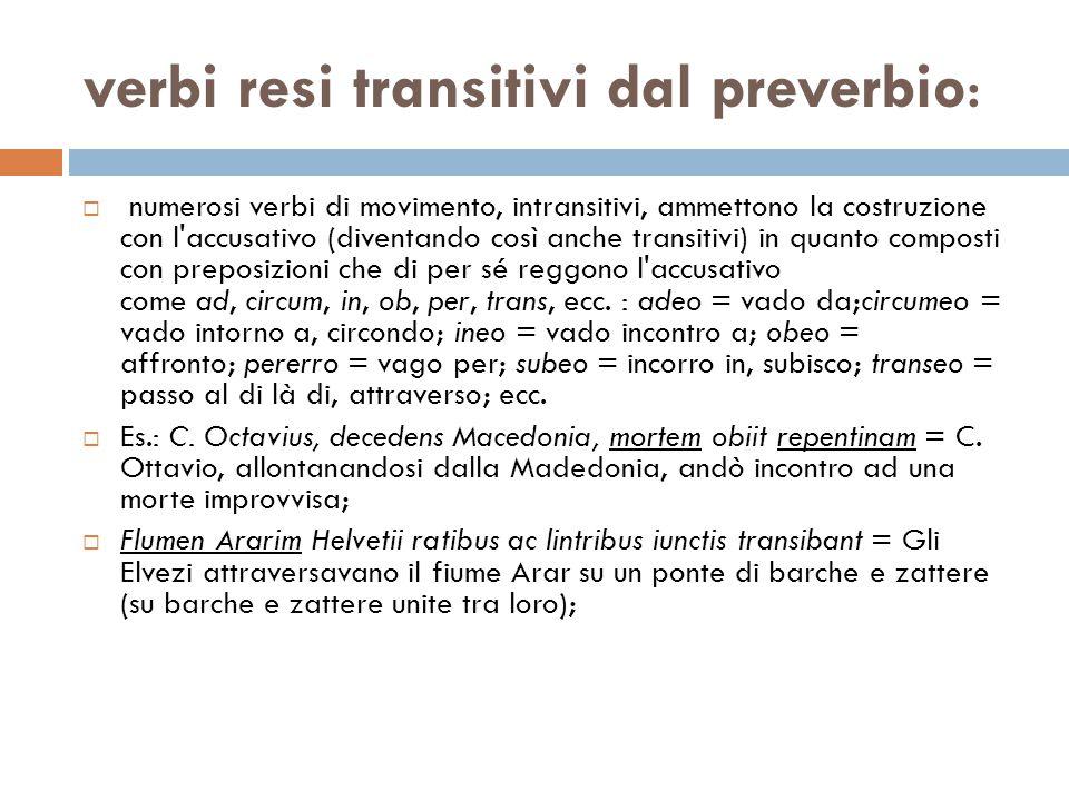 verbi resi transitivi dal preverbio:  numerosi verbi di movimento, intransitivi, ammettono la costruzione con l'accusativo (diventando così anche tra