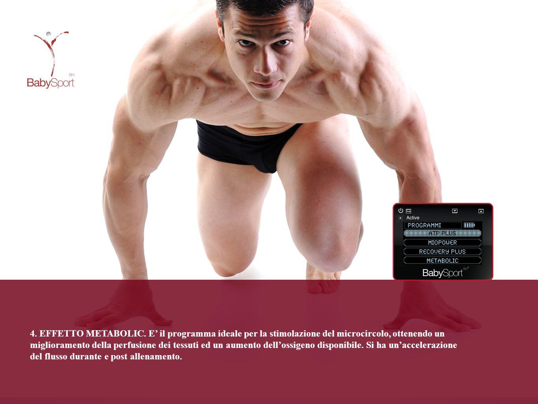 4. EFFETTO METABOLIC. E' il programma ideale per la stimolazione del microcircolo, ottenendo un miglioramento della perfusione dei tessuti ed un aumen
