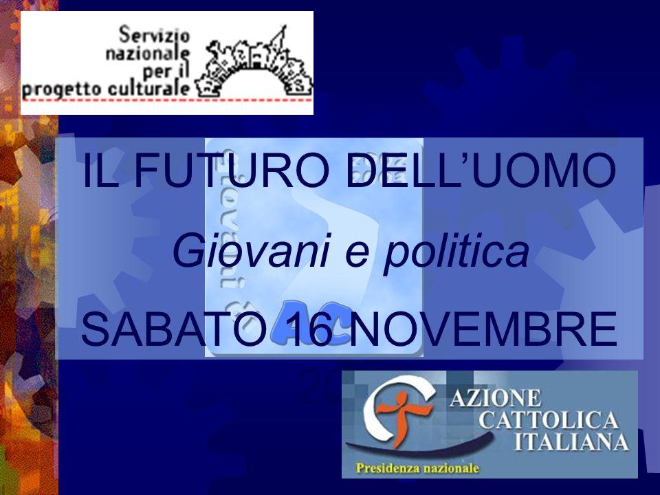 IL FUTURO DELL'UOMO Giovani e politica SABATO 16 NOVEMBRE 2002