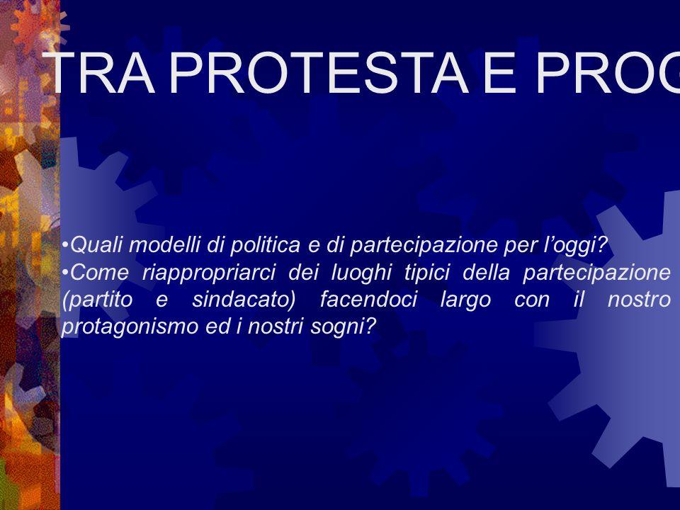 TRA PROTESTA E PROGETTO Quali modelli di politica e di partecipazione per l'oggi.