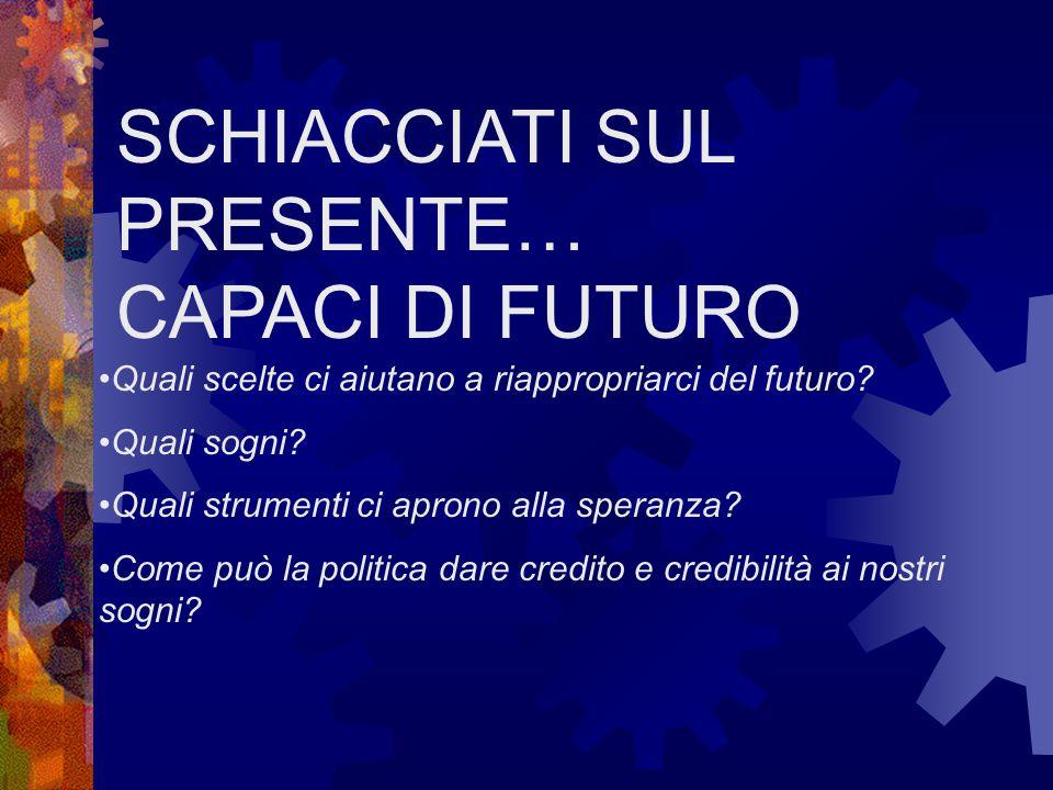 SCHIACCIATI SUL PRESENTE… CAPACI DI FUTURO Quali scelte ci aiutano a riappropriarci del futuro.