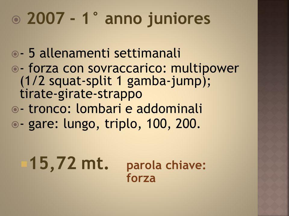  2007 - 1° anno juniores  - 5 allenamenti settimanali  - forza con sovraccarico: multipower (1/2 squat-split 1 gamba-jump); tirate-girate-strappo  - tronco: lombari e addominali  - gare: lungo, triplo, 100, 200.