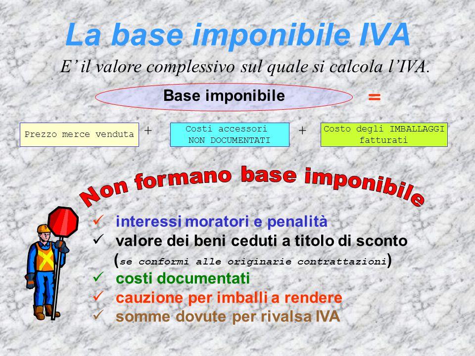 La base imponibile IVA E' il valore complessivo sul quale si calcola l'IVA. Prezzo merce venduta + Costi accessori NON DOCUMENTATI + Costo degli IMBAL