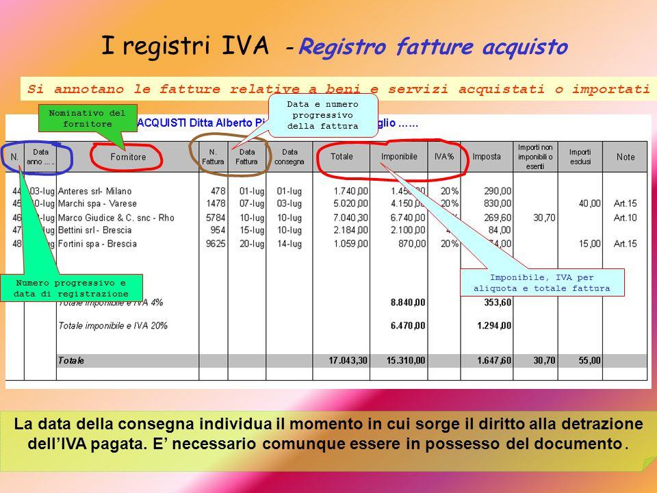 I registri IVA – Registro fatture acquisto Si annotano le fatture relative a beni e servizi acquistati o importati La data della consegna individua il