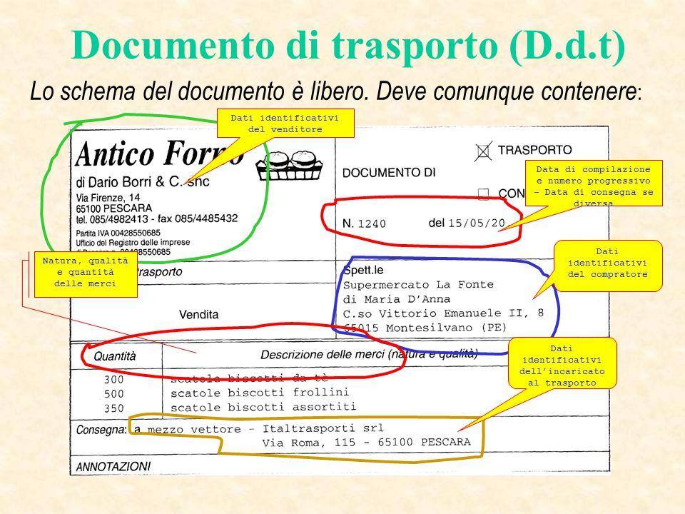 Documento di trasporto (D.d.t) Lo schema del documento è libero. Deve comunque contenere : Data di compilazione e numero progressivo – Data di consegn