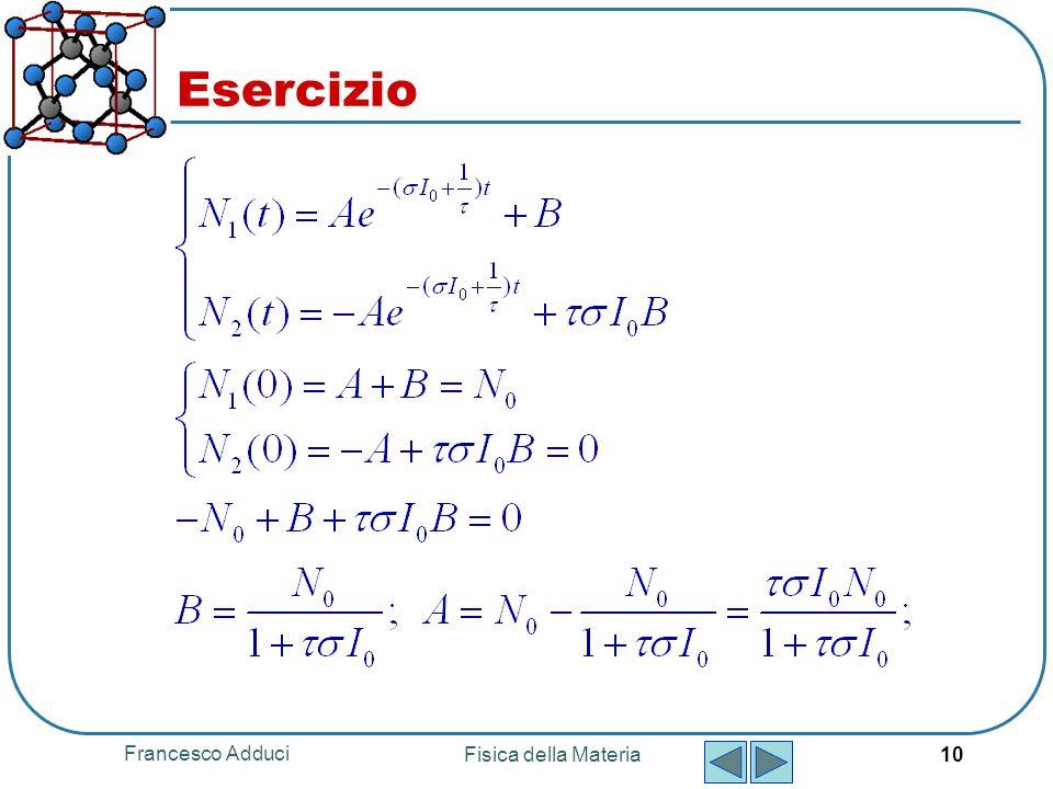 Francesco Adduci Fisica della Materia 10 Esercizio