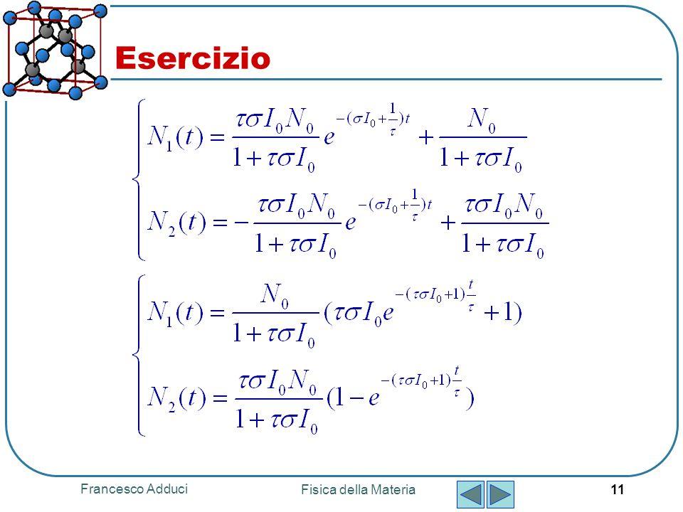 Francesco Adduci Fisica della Materia 11 Esercizio