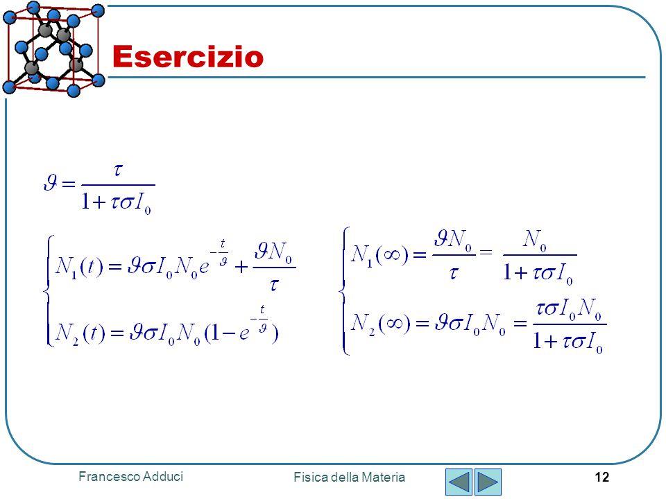 Francesco Adduci Fisica della Materia 12 Esercizio