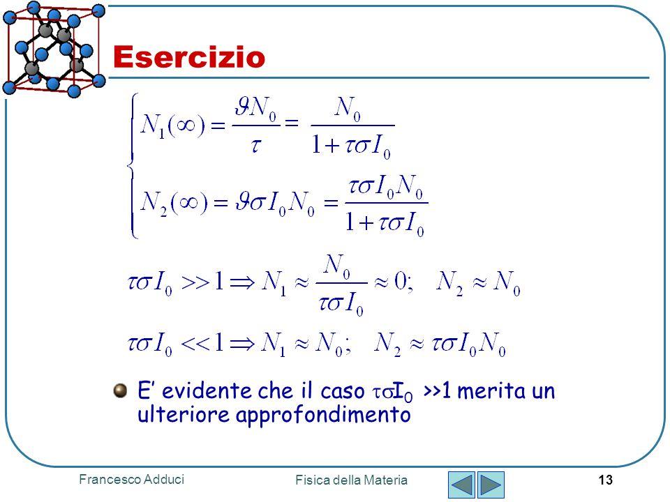 Francesco Adduci Fisica della Materia 13 Esercizio E' evidente che il caso  I 0 >>1 merita un ulteriore approfondimento