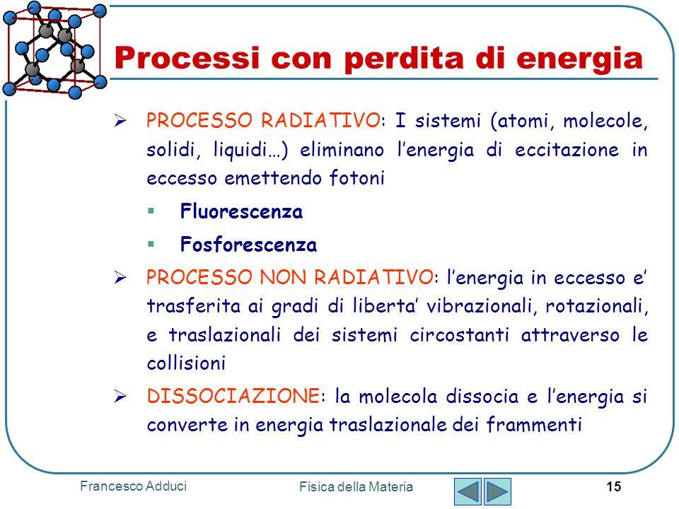 Francesco Adduci Fisica della Materia 15 Processi con perdita di energia  PROCESSO RADIATIVO: I sistemi (atomi, molecole, solidi, liquidi…) eliminano