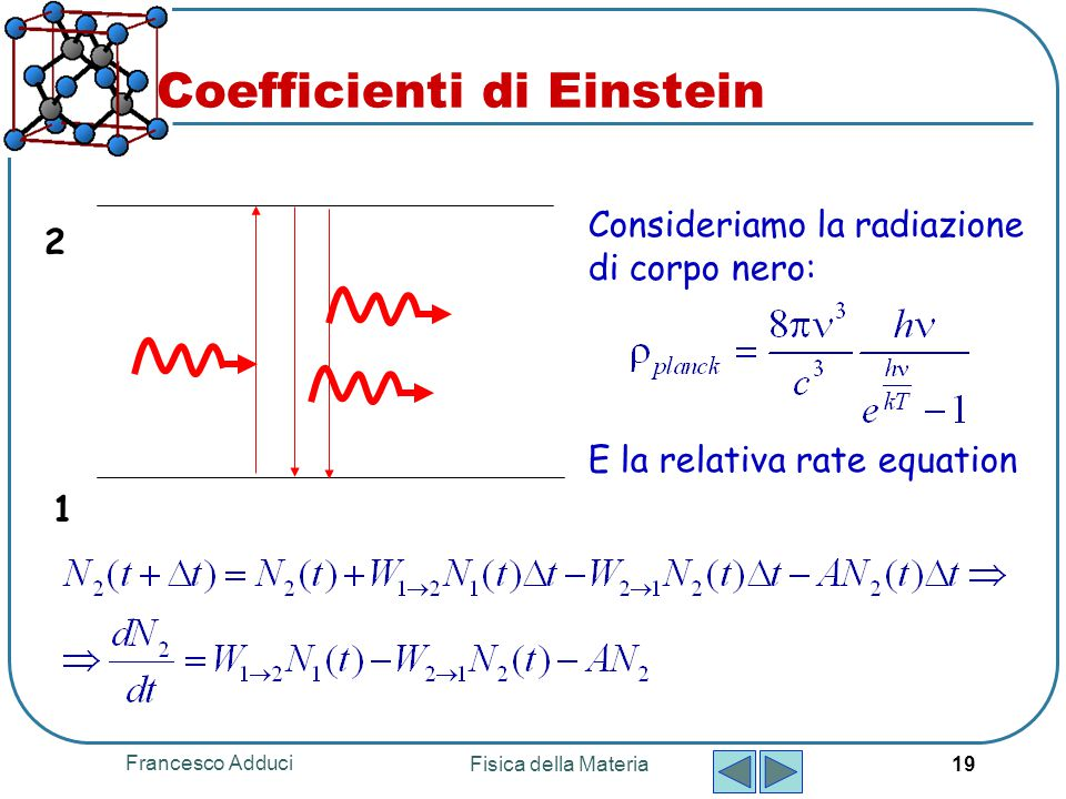 Francesco Adduci Fisica della Materia 19 Coefficienti di Einstein 1 2 Consideriamo la radiazione di corpo nero: E la relativa rate equation