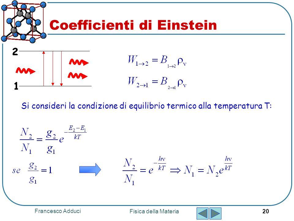Francesco Adduci Fisica della Materia 20 Coefficienti di Einstein Si consideri la condizione di equilibrio termico alla temperatura T: 1 2 1 2 1 2 1 2