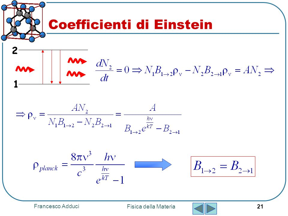 Francesco Adduci Fisica della Materia 21 Coefficienti di Einstein 1 2 1 2
