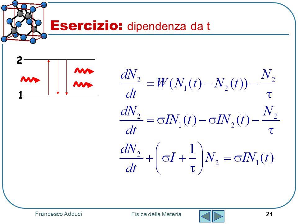 Francesco Adduci Fisica della Materia 24 Esercizio: dipendenza da t 1 2 1 2