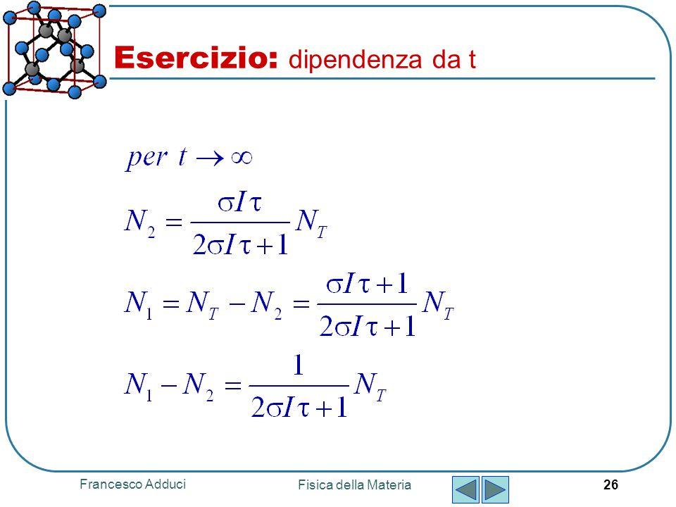 Francesco Adduci Fisica della Materia 26 Esercizio: dipendenza da t