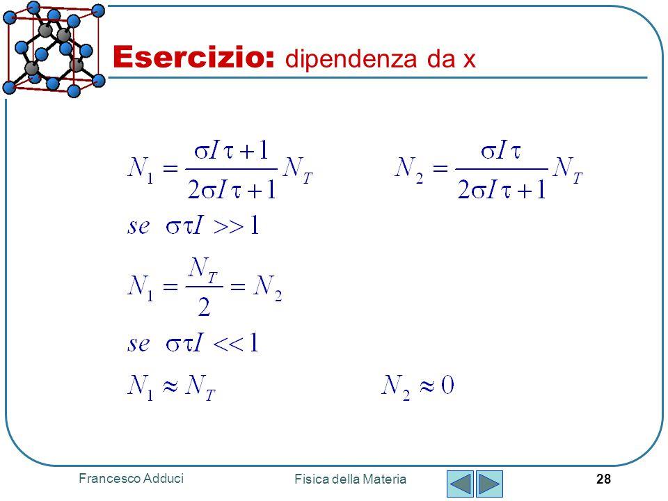 Francesco Adduci Fisica della Materia 28 Esercizio: dipendenza da x