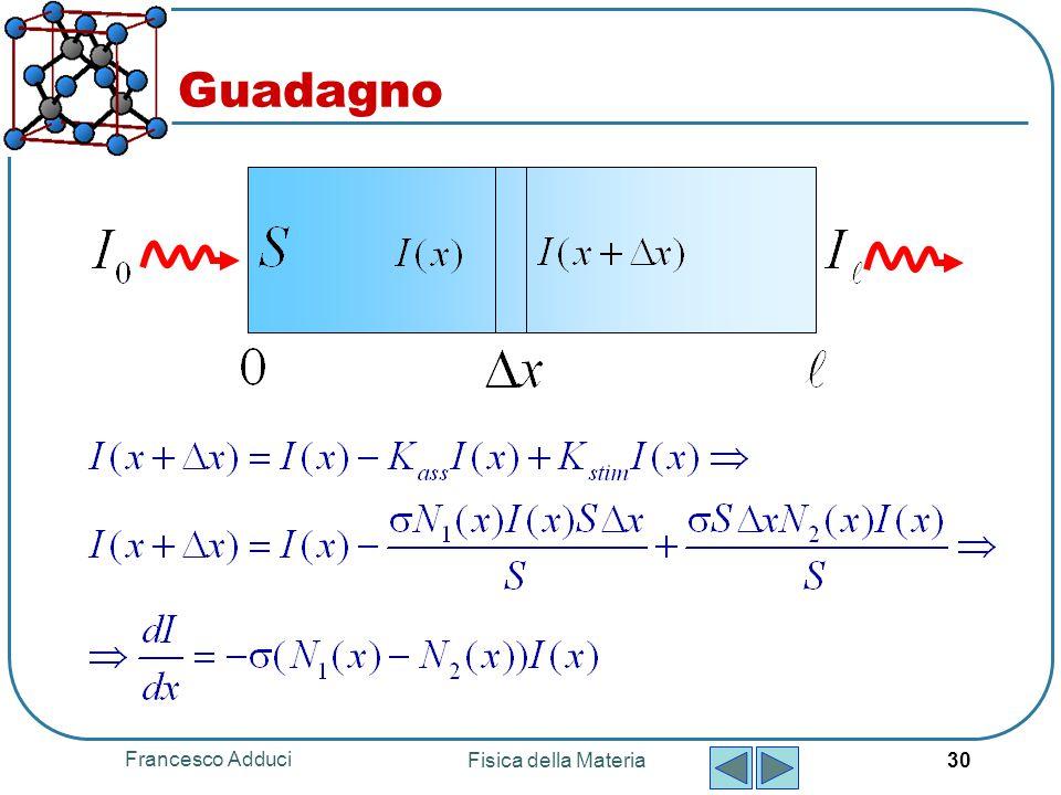 Francesco Adduci Fisica della Materia 30 Guadagno
