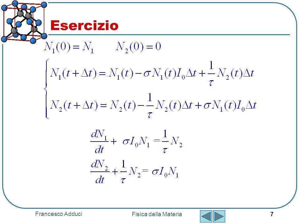 Francesco Adduci Fisica della Materia 7 Esercizio